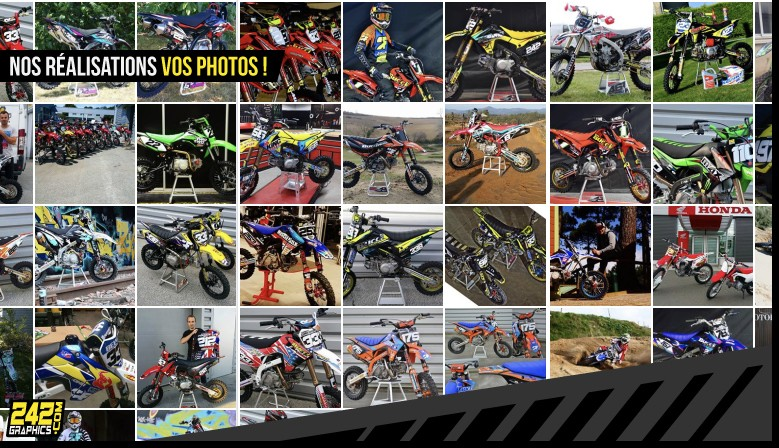 Envoyez-nous par MP Facebook vos photos mettant en avant nos produits 242GRAPHICS posés, nous les publierons dans cet album !