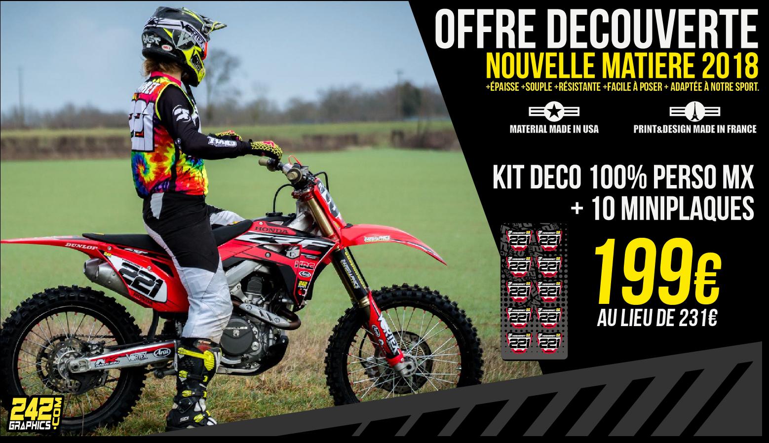Offre découverte: Kit déco motocross perso + 10 miniplaques